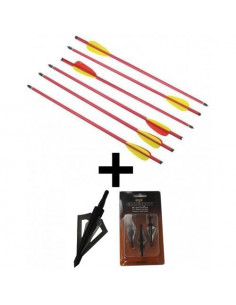 Pack of 6 Arrows of 16 inches (40.6cm) + 3 Broadheads 4 Blades