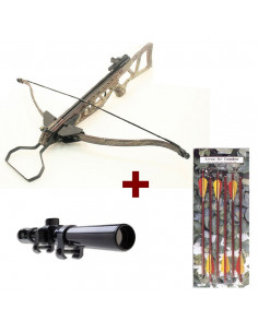 Pack Folding Crossbow Camouflage 180 pounds + 6 bolts 14 inches + scope 4x20
