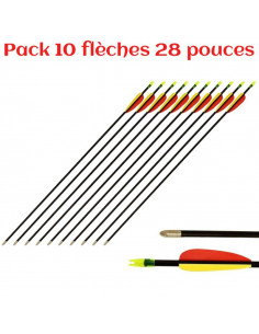 Pack of 10 arrows 28 inches (73cm), fiberglass, black