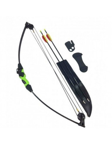 Compound bow 12 lbs for children , 24-inch black-green