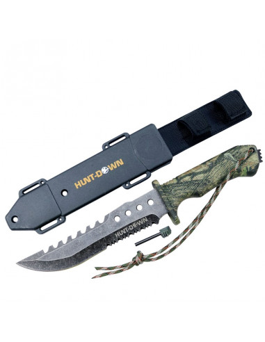 Survival knife 12 inches camouflage with fire