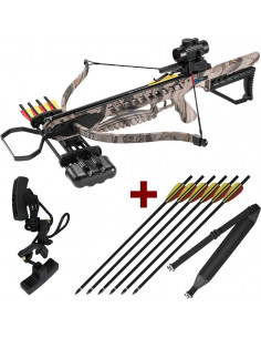 Pack Arbalète 175 lbs XB21 camouflage + corde d'armement + sangle + flèches