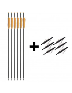 Hunting pack 6 carbon bolts for crossbow + 6 broadheads