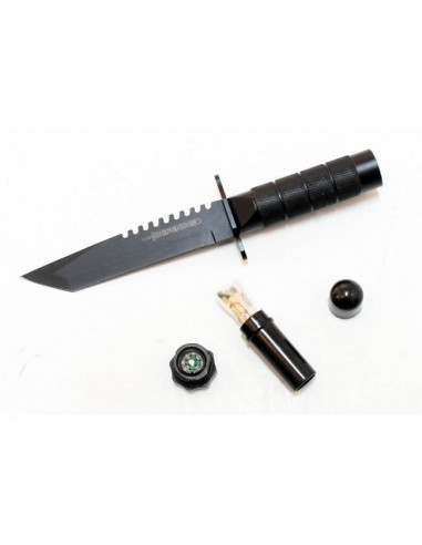 Survival Knife 8.5 inches (21.5cm) ALL BLACK
