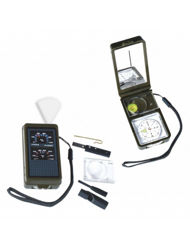 Survival kit 10 functions (compass, mirror, fire light, thermometer, hygrometer ..)